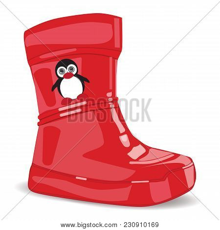 Realistic Red Rubber Boots For Children Little Penguin Isolated On White Background Art Modern Vecto