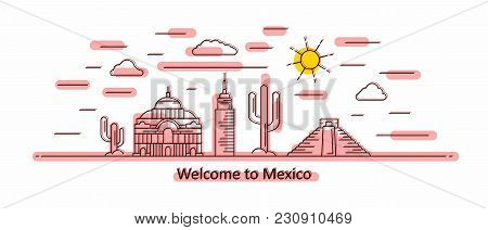 Mexico Panorama. Mexico Vector Illustration In Outline Style With Buildings And City Architecture. W