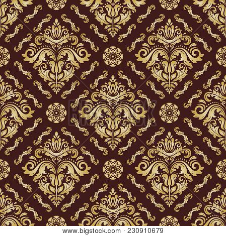 Orient Vector Classic Brown And Golden Pattern. Seamless Abstract Background With Vintage Elements.