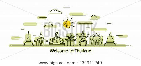 Thailand Panorama. Thailand Vector Illustration In Outline Style With Buildings And City Architectur