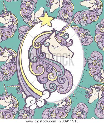 Cute Magical Unicorn Head Vector Design. Unicorn