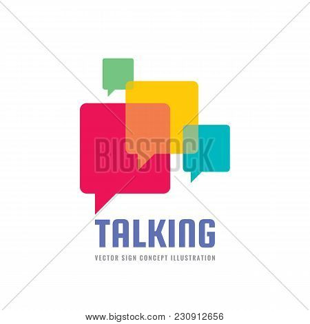 Message - Vector Logo Template Concept Illustration In Flat Style. Talking Chat Creative Sign. Socia