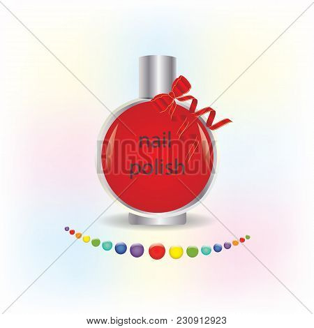Nail Polish Glass Bottle Red Bow With Ribbons Round Multicolored Drops Isolated On White Background