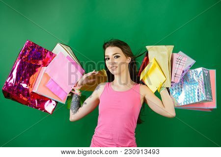 Shopper Woman With Shopping Bags, Purchase. Shopper Girl With Paper Bags, Sale.