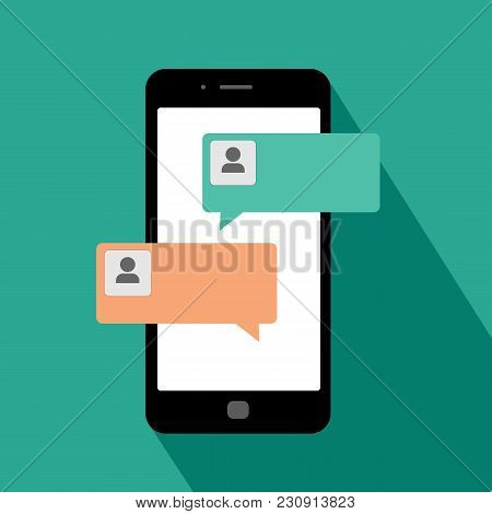 Smartphone Chat Messages Notification Vector Illustration, Flat Cartoon Sms Bubbles On Black Mobile