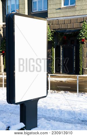 Mock Up. Outdoor Advertising, Blank Billboard Outdoors, Public Information Board In The City Winter