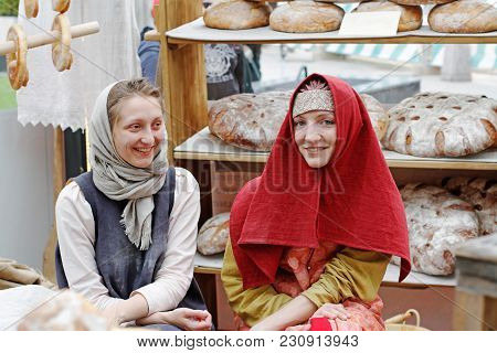 Moscow, Russia - June 09, 2017: Women In Traditional Dress And Handkerchiefs At The Festival