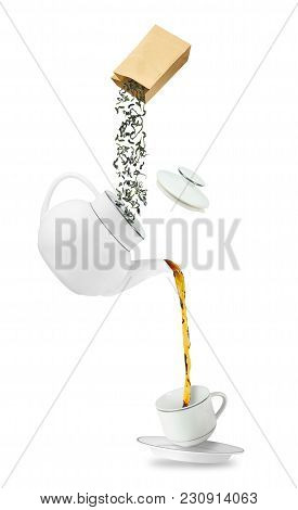 Pouring Tea In Tea Cup And Leaves In Teapot. Teapot And Cup Isolated On White Background