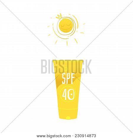 Vector Flat Travelling, Beach Vacation Symbol Beach Suntan Sunblock Sunscreen Uv Cream In Yellow Bot