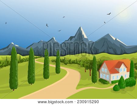 Mountainous Terrain. A House Against The Backdrop Of The Mountains. A Bright Sunny Day. A Blue Sky,