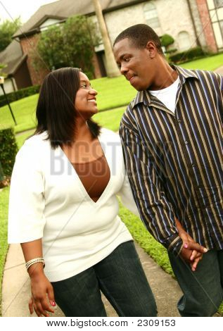 African American Couple Walking Outdoor