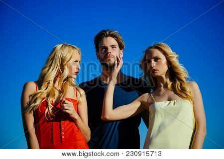 Beauty And Summer Fashion. Love Triangle And Romance. Man With Beard With Twins, Relations. Family T