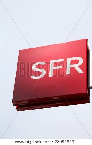 Firminy, France - August17 2016: Sfr Logo On A Wall. Sfr Is A French Telecommunications Company That