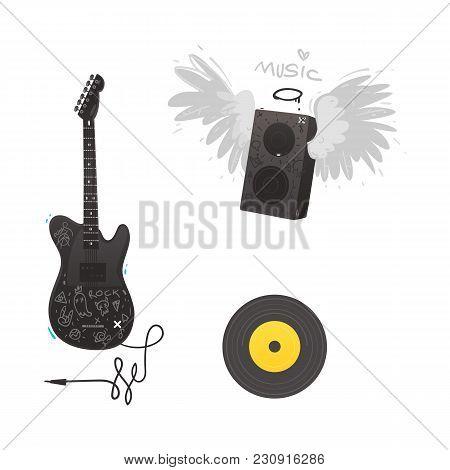 Vector Flat Music Symbols Set. Electric Guitar, Loudspeaker With Angel Wings, Nimbus, Vinyl Record.