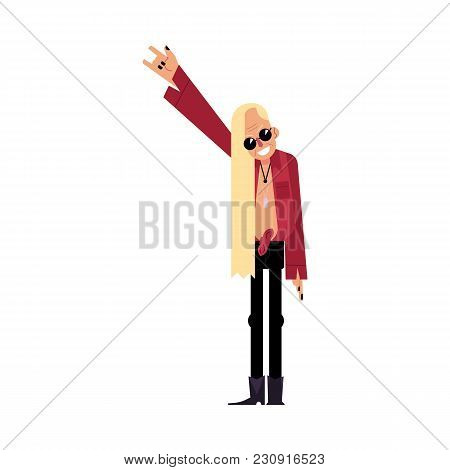 Old Rock Musician, Singer, Band Leader In Extravagant Suit, Cartoon Vector Illustration Isolated On
