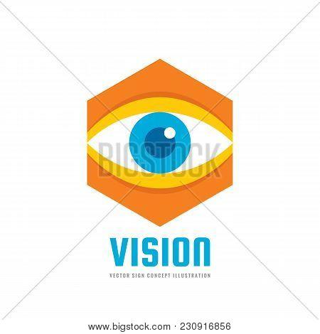 Vision - Vector Logo Template Concept Illustration. Human Eye. Medicine Ophthalmology Sign. Hexagon