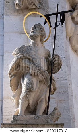 BUDAPEST, HUNGARY - OCTOBER 15: Statue of Saint John the Baptist, detail of Holy Trinity plague column in front of Matthias Church in Budapest, Hungary, on October 15, 2017.