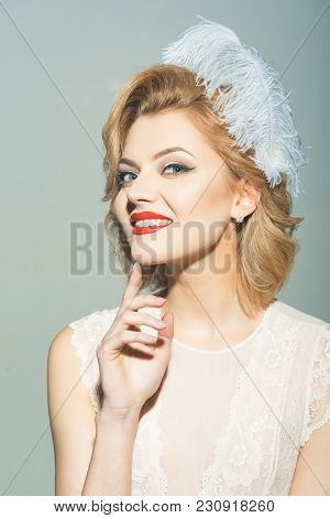 Makeup And Cosmetics, Skincare, Pinup Woman. Beauty, Fashion, Cosmetics, Vintage Style. Retro Woman,