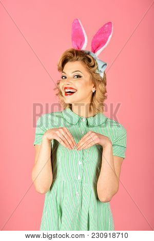 Easter, Makeup, Pinup Party, Girl In Rabbit Ears. Retro Woman In Bunny Ears, Easter. Pinup Woman, Vi