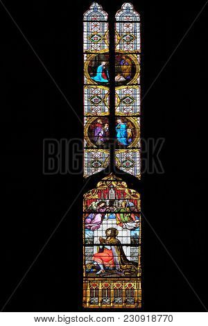 ZAGREB, CROATIA - APRIL 04: Saint Ladislaus, stained glass in Zagreb cathedral dedicated to the Assumption of Mary in Zagreb on April 04, 2015