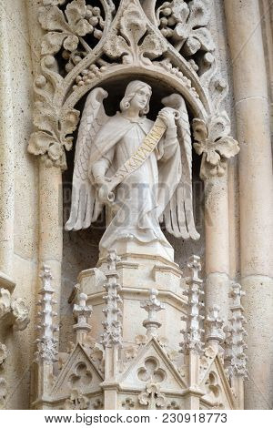ZAGREB, CROATIA - APRIL 04: Statue of Angel on the portal of the cathedral dedicated to the Assumption of Mary in Zagreb on April 04, 2015