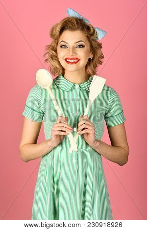 Pinup Woman Cook Hold Kitchenware, Retro Style, Maid. Housekeeper With Kitchen Utensil, Household. C