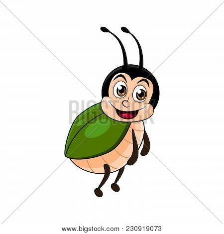 Beetle Cartoon Design Isolated On White Background.