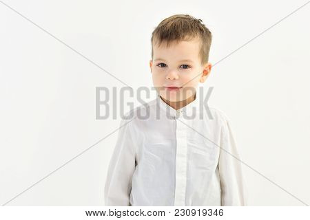 Little Boy In White Shirt, Business. Kid Fashion, Style And Look, Boss Baby. Kid With Blonde Hair, F