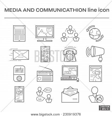 Vector Image. Set Of Line Icons On The Theme Of Media And Communication. Black And White Outline Sig