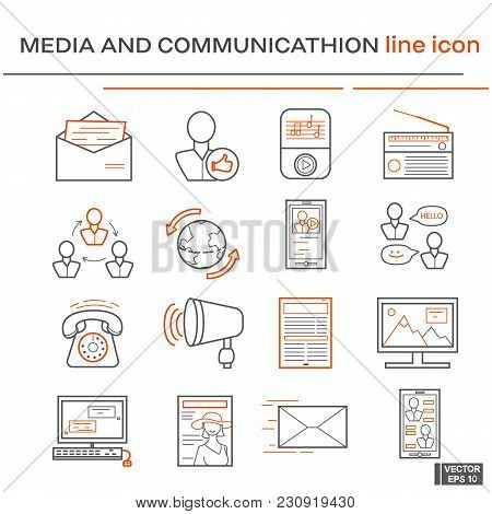 Vector Image. Set Of Line Icons On The Theme Of Media And Communication. Black And Red Outline Sign