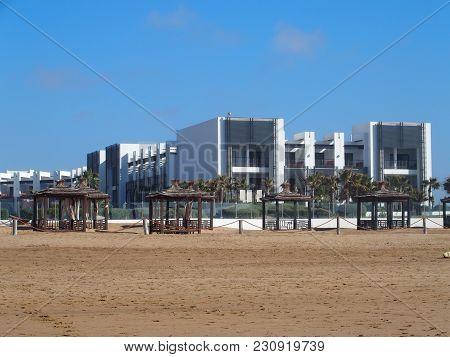 Agadir, Morocco Africa On February 2017: White Modern Hotel Building On Beach At Seaside In Travel C