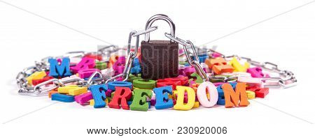Colored Letters Of The English Alphabet Are Wrapped Around The Chain And Locked. Freedom Of Speech.