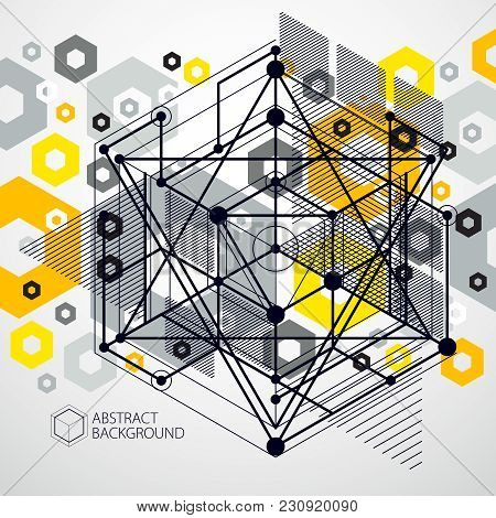 Engineering Technology Vector Yellow Backdrop Made With 3d Cubes And Lines. Engineering Technologica
