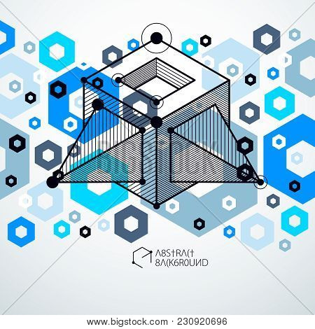 Isometric Abstract Blue Background With Linear Dimensional Cube Shapes, Vector 3d Mesh Elements. Lay