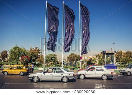 Tehran, Iran - October 15, 2016: Cars On Azadi Avenue Next To Azadi Square In Tehran
