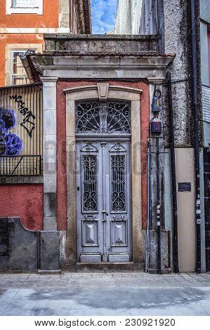 Porto, Portugal - December 8, 2016: Decorated Metal Door Of A Townhouse Courtyard In Cedofeita Distr