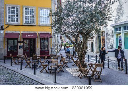 Porto, Portugal - December 8, 2016: Small Aduela Bar At Rua Oliveiras Street In Porto