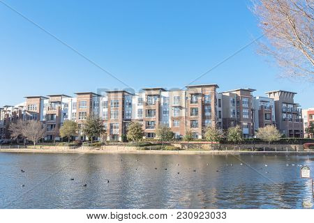 Lakeside Apartment Building Complex With Blue Sky In America