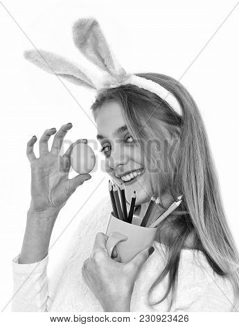 Happy Easter Girl In Bunny Ears With Blue Egg, Pencil