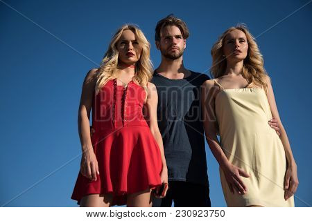 Man With Beard With Twins, Relations. Love Triangle And Romance. Beauty And Summer Fashion. Family T