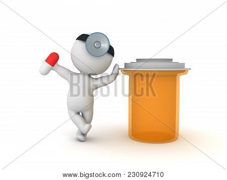 3D Illustration Of Doctor With Pharmacy Bottle And Capsule Pill