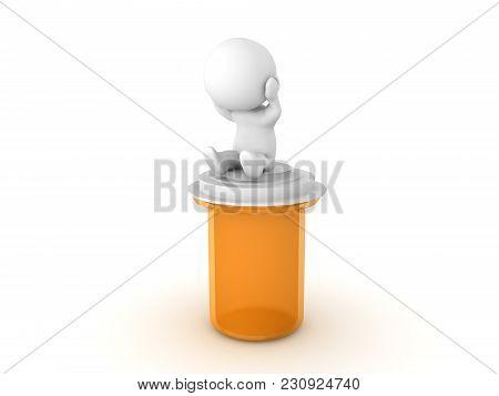 Depressed 3D Character Sitting On Anti Depressant Bottle