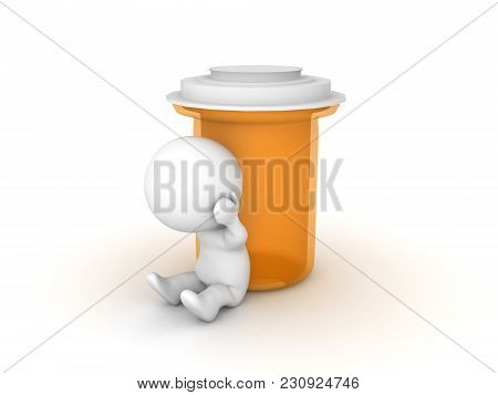 Depressed 3D Character Sitting Next To Anti Depressant Bottle