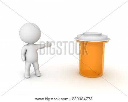 3D Character Showing Large Orange Drug Pill Bottle