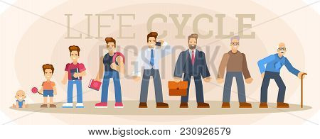 Character Of A Man In Different Ages. A Baby, A Child, A Teenager, An Adult, An Elderly Person. The