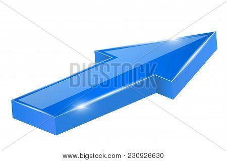 Blue Shiny Arrow. Forwards. Vector 3d Illustration Isolated On White Background