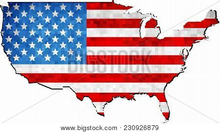 Grunge Usa Map With Flag Inside - Illustration,  Map Of Usa Vector,   Abstract Grunge Mosaic Flag Of