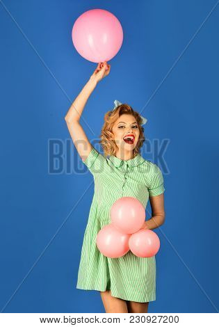 Pin Up Woman In Balloons, Birthday. Retro Woman With Party Balloons, Celebration. Sexy Blond Girl Wi