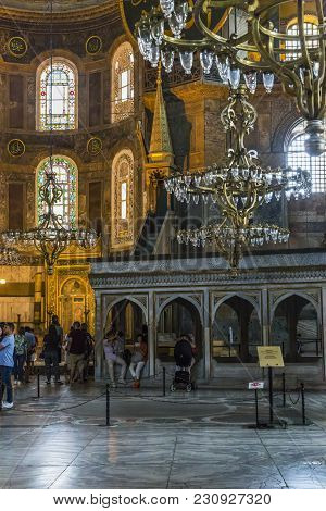 Istanbul, Turkey - September 11, 2017: This Is The Interior Of The Hagia Sophia At The Place Of The