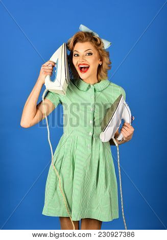 Pinup Woman Hold Iron, Retro Style, Maid. Pinup Girl Ironing And Hold Iron As Phone